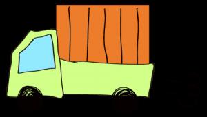 黄緑 【フリー素材・乗り物】 軽トラック(荷台カバー)