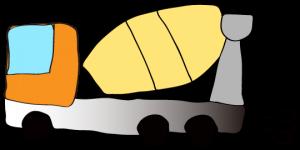 オレンジ 【フリー素材・工事車両】 ミキサー車(グラデーション)