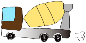茶色 【フリー素材・工事車両】 ミキサー車(グラデーション)