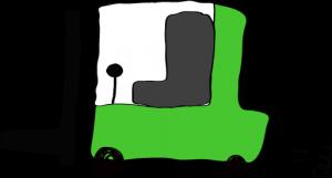緑:フォークリフト【フリー素材・働く車】