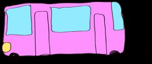 ピンク:【乗り物フリー素材】 バス