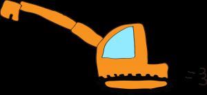 ショベルカーロング:オレンジ 【 フリー工事車両 】