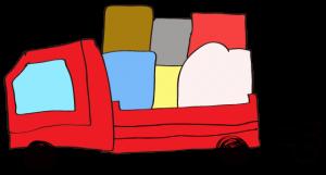 赤 【フリー素材・乗り物】 トラック(積荷)