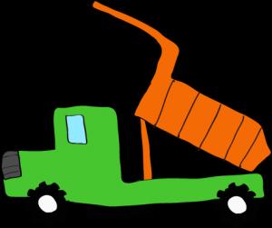 ダンプカー荷台上:緑 【 フリー素材工事車両 】