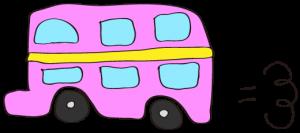ピンク:【乗り物フリー素材】 二階建てバス