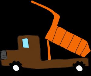 ダンプカー荷台上:茶色 【 フリー素材工事車両 】