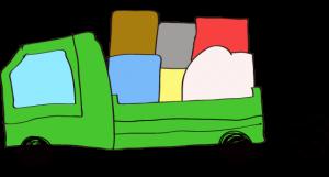 緑 【フリー素材・乗り物】 トラック(積荷)