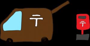 茶色:郵便車(ポスト)【フリーイラスト・町の車】