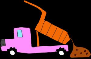 ダンプカー土砂下ろし:ピンク 【 フリー素材工事車両 】