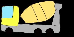 黄色 【フリー素材・工事車両】 ミキサー車