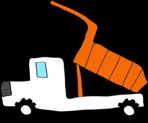 ダンプカー荷台上:白 【 フリー素材工事車両 】