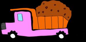 ダンプカー土積:ピンク 【 フリー素材工事車両 】