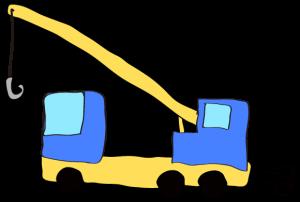 青:【フリー素材・ 大型車】クレーン車
