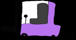 紫:フォークリフト【フリー素材・働く車】