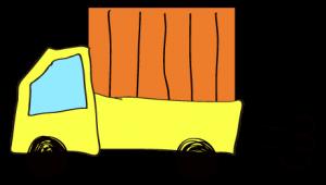 黄色 【フリー素材・乗り物】 軽トラック(荷台カバー)