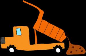 ダンプカー土砂下ろし:オレンジ 【 フリー素材工事車両 】