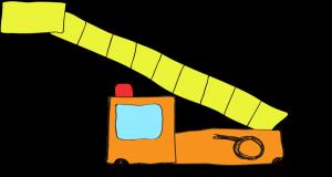 フリー素材 はしご車 オレンジ(ロング)