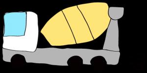 白 【フリー素材・工事車両】ミキサー車