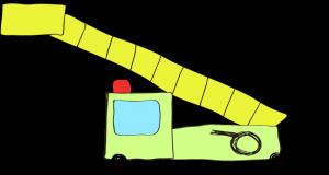 フリー素材 はしご車 黄緑(ロング)