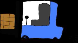 青:フォークリフト【フリー素材・働く車】