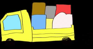黄色 【フリー素材・乗り物】 トラック(積荷)