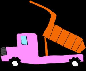 ダンプカー荷台上:ピンク 【 フリー素材工事車両 】