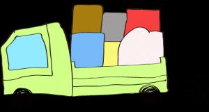 黄緑 【フリー素材・乗り物】 トラック(積荷)