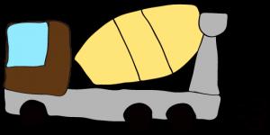 茶色 【フリー素材・工事車両】 ミキサー車