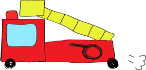 フリー素材 はしご車 赤