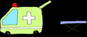 フリー素材 救急車 黄緑(タンカ)