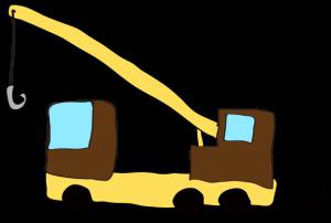 茶色:【フリー素材・ 大型車】クレーン車