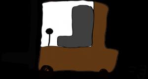 茶色:フォークリフト【フリー素材・働く車】