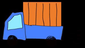 青 【フリー素材・乗り物】 軽トラック(荷台カバー)