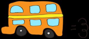 オレンジ:【乗り物フリー素材】 二階建てバス