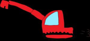 ショベルカーロング:赤 【 フリー工事車両 】