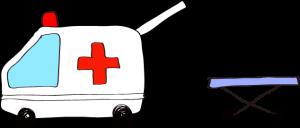 フリー素材 救急車 白(タンカ)