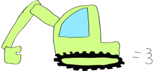 ショベルカー: 黄緑 【 フリー工事車両 】
