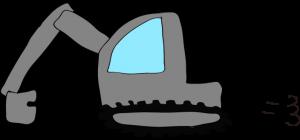 ショベルカー: グレイ 【 フリー工事車両 】