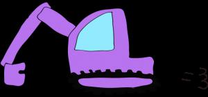 ショベルカー: 紫 【 フリー工事車両 】