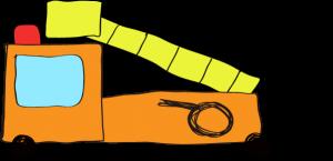 フリー素材 はしご車 オレンジ