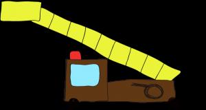 フリー素材 はしご車 茶色(ロング)