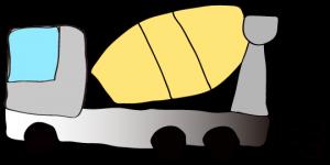 グレイ 【フリー素材・工事車両】 ミキサー車(グラデーション)
