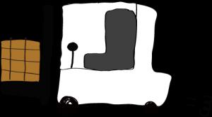白:フォークリフト【フリー素材・働く車】