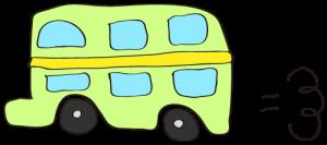 黄緑:【乗り物フリー素材】 二階建てバス
