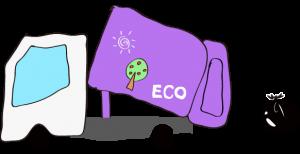 ゴミ収集車 エコデザイン 紫