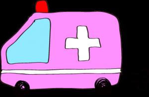 フリー素材 救急車 ピンク