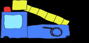フリー素材 はしご車 青