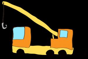 オレンジ:【フリー素材・ 大型車】クレーン車