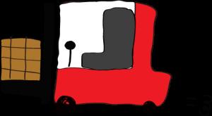 赤:フォークリフト【フリー素材・働く車】