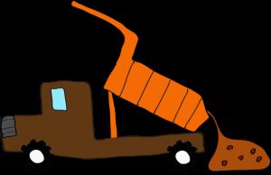 ダンプカー土砂下ろし:茶色 【 フリー素材工事車両 】